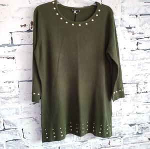 Sweaters - NWT Olive Green Studded Sweater